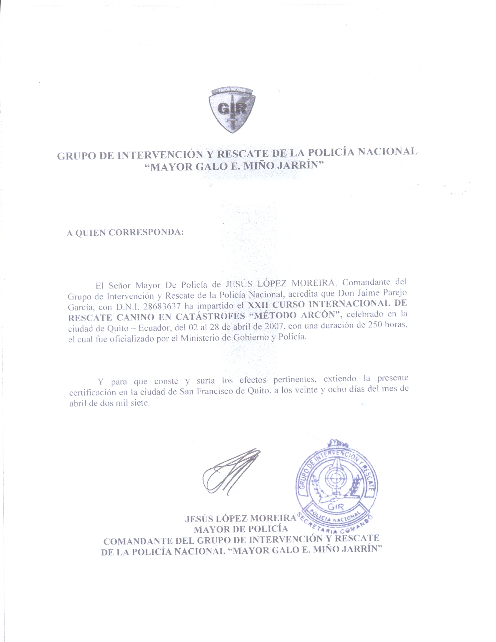 Modelo de certificado de antiguedad en el trabajo tattoo for Ministerio del interior ecuador telefonos
